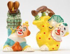Salt Pepper Shaker Clown Circus Yona Original Vintage 1957 Japan Novelty Figural