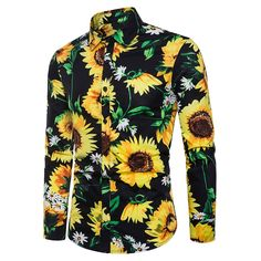 Allover Sunflower Print Long Sleeve Shirt - Black - 3885818822 Size S Mens Clothing Sale, Clothes For Sale, Men's Clothing, Banded Collar Shirts, Sunflower Print, Men Style Tips, Stripe Print, Types Of Shirts, Casual Shirts