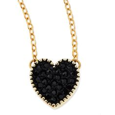Jules Smith Black Crystal Heart Charm Necklace - Black ($39) ❤ liked on Polyvore featuring jewelry, necklaces, accessories, colar, collares, collar necklace, black chain necklace, crystal bead necklace, black bead bracelet and heart charm necklace