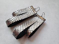 Silver leather geometric earrings large metallic earrings | Etsy