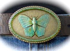 Butterfly Belt Buckle Patina Antique Brass by BuckleXpressions