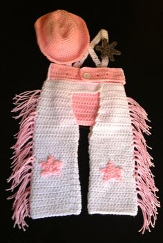 Crochet Baby Girl Cowgirl Set with Cowgirl Hat by JustALilLoopy, $44.99