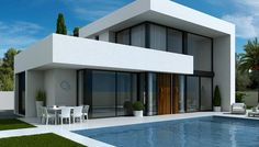 flat roof l shaped house design pinterest flat roof 13935 | e2a13935ff7e494f95b5907374f3b43f spanish villas costa blanca