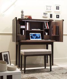 Ash Secretary Desk. Doors house extra shelving. Make taller with deeper fold-up desk area.