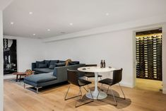 Stunning basement with a wine cellar! Wooden Gates, Cladding, Modern Architecture, Side Split, Studio, Interior, Table, Basement, House