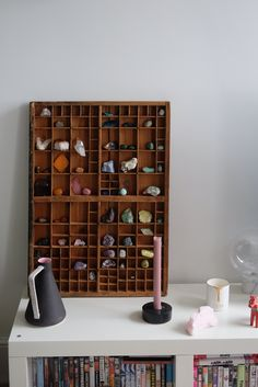 """""""My crystals used to be scattered everywhere but now they're mainly all housed in an old print tray that I picked up at our local reclamation."""""""
