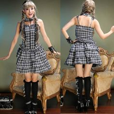 White and Black Plaid Retro Vintage Gothic Lolita Dress Top + Skirt SKU-11402362