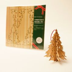 wooden christmas tree laser cut in cedar thinning of Japan