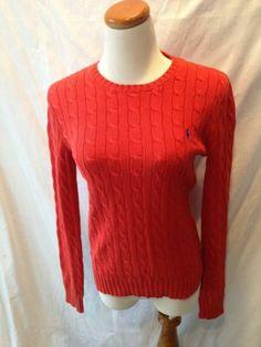 RALPH LAUREN POLO orange cotton cableknit crewneck sweater Medium M