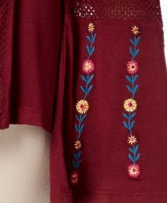 Ny Collection Embroidered Bell-Sleeve Top - Purple XL