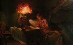 "poboh: "" Interior with reading girl in lamplight, Even Ulving. The Prince Of Tides, Books To Read For Women, Demon Art, Amazing Paintings, Scandinavian Art, Woman Reading, This Is Love, Book Girl, Light Painting"