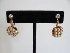 Aurora Borealis Faceted Rhinestone Screw Back Earrings on a Gold Tone Setting - Mid Century - Rhinestone Earrings - Aurora Borealis Earrings by SecondWindShop on Etsy