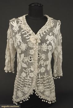 Augusta Auctions, October 2007 Vintage Clothing & Textile Auction, Lot 658: 2 Ladies Irish Crochet Tops, C. 1910