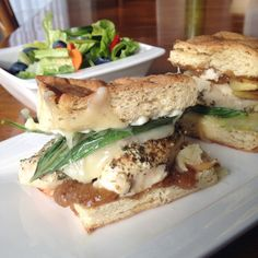 Earls copycat Brie, Chicken, Apple, Fig sandwich Try to lighten up with flatbread, easy on fig jam etc.
