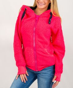This Exist Coral & Navy Zip-Up Hoodie by Exist is perfect! #zulilyfinds