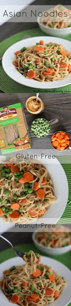 Delicious Asian Noodles are a #MeatlessMonday favorite! This #vegan recipe is also #glutenfree and #peanutfree. Perfect for food allergies!
