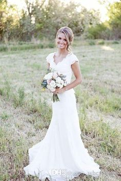 2017 Simple Country Wedding Dresses A Line V Neck Lace Chiffon Short Sleeve Sweep Train Cheap Bridal Gowns Custom Made