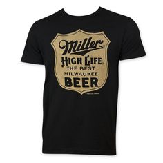Men's black Miller Life t-shirt. Made from 100 percent cotton, this tee features a Miller High Life The Best Milwaukee Beer logo on the front. All Beer, Best Beer, Milwaukee Beer, Miller High Life, Custom Clothes, All In One, My Style, Tees, Mens Tops
