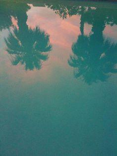 mundane aesthetic: dusk poolside