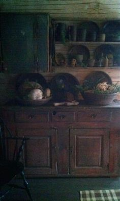 cupboard with pantry shelves ~ Log Cabin Country Primitives.....
