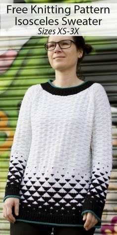 Free Knitting Pattern for Isosceles Sweater Sizes XS to 3X - In this pullover tunic sweater, the stranded triangles begin dominantly black and transition like magic to white. To further the triangular motif, textured triangles are scattered across the upper part of body and sleeves. Sizes XS (S, M, L, 1X, 2X, 3X). Designed by Amy Gunderson for Knitty. DK weight yarn. Knitted Mittens Pattern, Knit Mittens, Knitting Patterns Free, Free Knitting, Baby Knitting, Free Pattern, Sweater Patterns, Knit Sweaters, Tunic Sweater