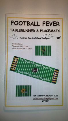 FOOTBALL FEVER PATTERN - via @Craftsy- just in time for the Superbowl! Customize for your favorite team and their rival. Table runner and placemats. Fun for paper football too ;)
