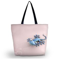 Blue Lizard Travel Shopping Shoulder Tote Handbag Folding Reusable Pink Bag