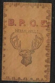 Rare LEATHER  B.P.O.E. ELKS Antique Hello Bill Vintage Postcard-hh902