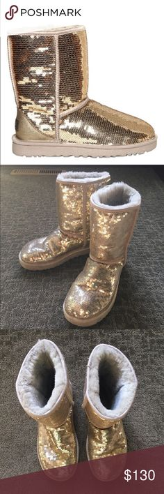 Gold uggs Authentic uggs with gold sequins on them. They are very shiny in the sun. They're in great condition, they're barely worn. They are a size 8. UGG Shoes Winter & Rain Boots