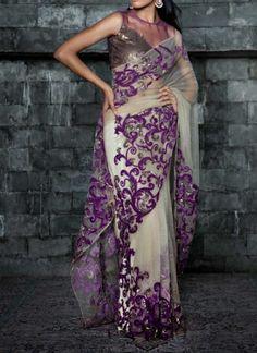 Siddartha Tytler - Indian Fashion Designer - Applique Worked Sheeting Saree