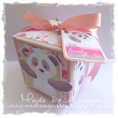 A perfect girl's birthday gift box to accompany a matching card.  What a beautiful way to give your gift, with this wonderful handmade gift box!  Gift box made using Panda Paws Girls Collection from Nitwit Collections™ #cardmaking