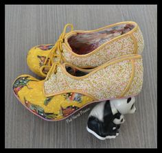 Last Friday saw the latest character heel release from Irregular Choice, a panda this time. In two styles (four colourways), I'll be honest. Wedge Boots, Shoes Heels Boots, New Shoes, Wedge Sandals, Heeled Boots, Funny Shoes, Irregular Choice Shoes, Girls Diary, Yellow Shoes
