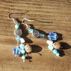Sea Blue glass Brown pebbles Indian Silver Earrings by Mouflon, €25.00