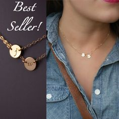 Unique, Handmade, Artisan Crafted | Personalized Initial Necklace, Double Layered | Handcrafted in Vermont, USA, Worldwide Shipping