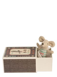 Baby boy mouse in box by Maileg