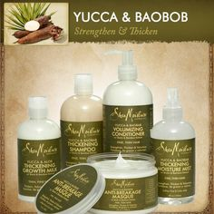 Our Yucca & Baobob collection thickens and adds volume, transforming dull, limp hair into vibrant tresses. Helps strengthen fragile hair while reducing breakage for more full-bodied healthy hair.
