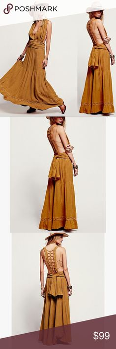 NWOT Jen's Pirate Booty Trailing Jade Crochet Maxi NWOT Jen's Pirate Booty Trailing Jade Maxi in natural! Absolutely beautiful dress made from 100% cotton in unusual burnt gold color. Crochet back panel and plunging neckline make cut a stunning silhouette. Purchased new from Free People. ❗️Oversized fit -> item is size L but fits XL! Free People Dresses Maxi