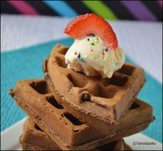 Eggless Chocolate Chip Brownie Waffles ~ Tamalapaku