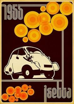Vintage Advertising Posters- I love this vintage ad- the simple color choices really make the car pop on here- the geometric circles that surround it work well with it too- And im a sucker for anything vintage.