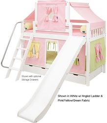 Maxtrix SMILEY Bunk Bed with Slide, Top Tent and Curtains - www.ekidsrooms.com