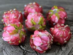 Jewelry Making Lampwork Glass Beads, 5 pc set Handmade Flower Beads, diy Beads Bracelet or Earrings Polymer Clay Beads, Lampwork Beads, Pinterest Diy Crafts, Murano, Loom Beading, Handmade Flowers, How To Make Beads, Beaded Flowers, Rose Buds