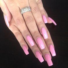Pink acrylic long nails
