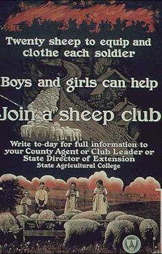 Twenty sheep to equip and clothe each soldier. Boys and girls can help. Join a sheep club.  --  WWI propaganda poster (USA).