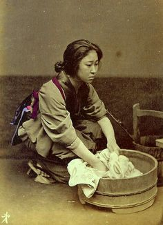 WASH DAY IN JAPAN Ca.1870s-80s. | Smelly Towels? | Stinky Laundry? | Washer Odor? | http://WasherFan.com | Permanently Eliminate or Prevent Washer & Laundry Odor with Washer Fan™ Breeze™ | #Laundry #WasherOdor  #SWS