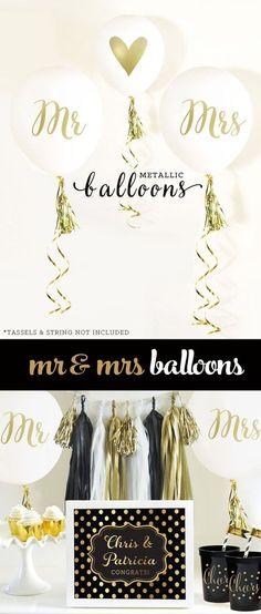 gold bridal shower balloons!