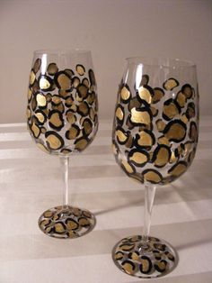 Painted cheetah wine glasses (Bridal Shower)