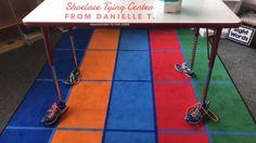 Shoelace tying station