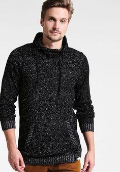 Kleding Shine Original HIGH COLLAR MIX YARN - Trui - black mix Zwart: € 39,95 Bij Zalando (op 23-9-17). Gratis bezorging & retour, snelle levering en veilig betalen! Stylish Mens Outfits, Stylish Clothes, Men Sweater, Pullover, Sweaters, Black, Fashion, Moda, Black People
