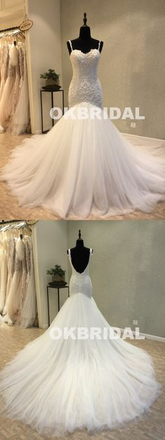 Charming Mermaid Backless Wedding Dresses, Tulle Sleeveless Lace Wedding Dresses, KX1093 #okbridal