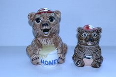 Bear Honey Pot Sugar Jar Sittre Ceramics 1982 Set Brown Teddy Bears Caps Collectible Kitchen Decor Animal Vintage Wildlife Canister by TresorsEnchantes on Etsy